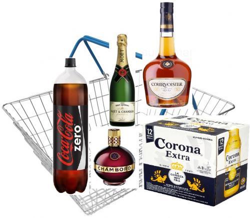 Tesco + Topcashback + Mysupermarket ultimate basket? Corona + Courvosier + Moet + Chambord + Coke Zero