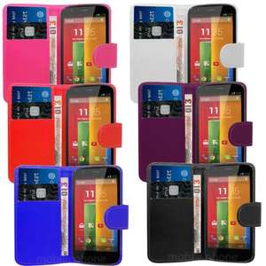 PU Leather Wallet Case Cover Flip & Screen Film For Motorola Moto G @ mobile phone accessories for £3.95 delivered