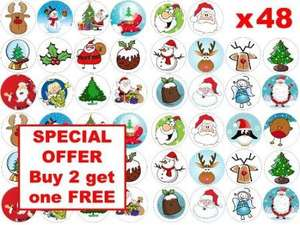 48 x 3cm Father Christmas Santa Claus Xmas Festive Mixed Fairy Cup Cake Toppers £1.89 @amazon sold buy harolds bakeware
