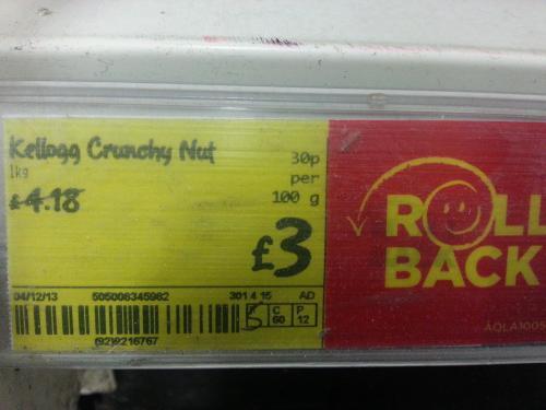 Kellogs crunchy nuts 1kg for £3.@ asda