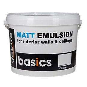 Vectra Basics Matt Emulsion Paint Pure Brilliant White 10Ltr - 2 for £15 @ Screwfix In-Store