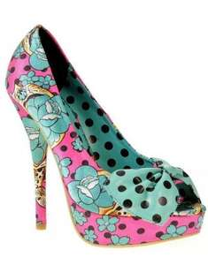 IRON FIST - FIESTA SKULL PEEP TOE PLATFORM PINK NOW: £18.75 Was: £74.99