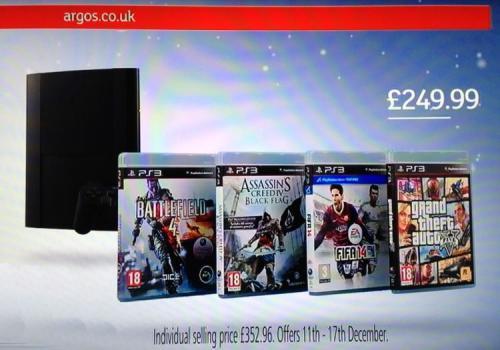 PS3 500GB Console + 4 Game Bundle (BF4/AC4/FIFA14/GTA5) £249.99 @ Argos