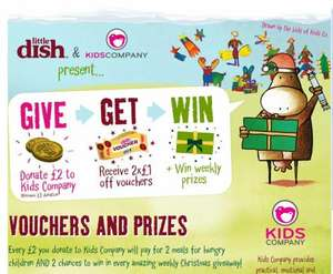 Donate £2 to Kids Company, get 2 x £1 Little Dish money off vouchers, and Kids Company will pay for 2 meals for vulnerable children