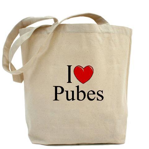 """""""I Love (Heart) Pubes"""" Tote Bag - £14.25 Delivered @ Cafepress"""