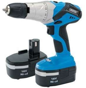 DRAPER 18V CORDLESS HAMMER DRILL WITH 2 BATTERIES CHARGER & CARRY CASE FOR 28.99