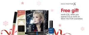 Spend £15 on Max Factor products receive £30  worth  make up + £3 voucher@ BOOTS