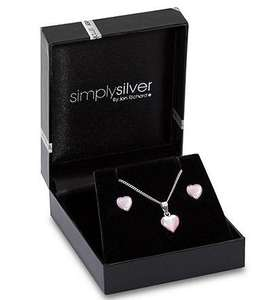 Sterling Silver Mother of Pearl Pink Heart Necklace & Earrings Set reduced to £10 @ Debenhams