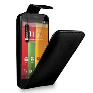 Motorola Moto G - Leather Flip Case Cover Pouch + Free Screen Protector & Mini Touch Stylus Pen + Polishing Cloth (Black, Blue, Red, White, Dark purple, Hot Pink ) 99p@ amazon/GB Online Sales (check link in comments for colour options)