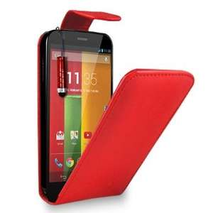 Motorola Moto G - Leather Flip Case Cover Pouch + Free Screen Protector & Mini Touch Stylus Pen + Polishing Cloth (Red) (edit: now other colours too) 99p @ Amazon/GB Online Sales.