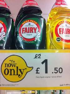 Fairy Washing Up Liquid Original/Lemon Mega Pack 870ml for £1.50 @ Wilko