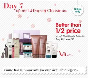 Boots 12 days of Christmas day 7 no7 ultimate collection. £32 now in store