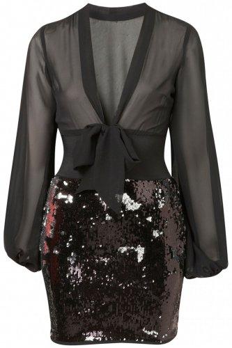 Jones and Jones Jocelyn Black and Silver Party Dress WAS £70 - £20 @ JACK & JONES