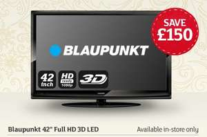 "Blaupunkt 42"" Full HD LED 3D TV £279.99!!!! Sainsburys instore"