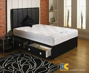 Orthomedic Divan bed with Mattress, headboard and 2 drawers -Small Double 4'0 £132 @ Bed Express /  Amazon