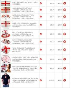 Loads of England / UK stuff starting at £0.24 an item @ CPC