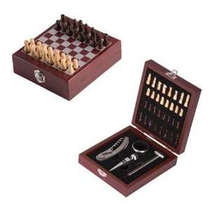 Vintage Wooden Chess Board Game with Wine Gift Set 36 Pieces @Amazon sold by Safield Dist. Ltd.