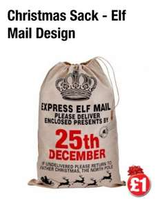 Deliver Present By 25 Dec Christmas Sack Mail £1 @ Poundland