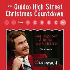free popcorn and drink worth £3.95 at cineworld cinemas via quidco app