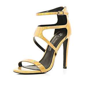 River Island gold holographic strappy sandals 20.00