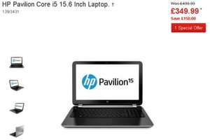 @Argos >DEC 21st UPDATE< HP Pavilion 15-e096sa OR 15-n013sa - Intel i5 Was £499 - One day deal > Now: £349.99 - IF YOU HAVE RESERVED OR FIND ONE IN STOCK IT IS £349 TO £379!