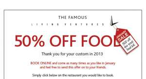 50% off Total Food Bill in Jan at following restaurants; Blackhouse, Gusto, The Alchemist, Artisan Kitchen & Bar, Clive Restaurant & Bar, Red Door