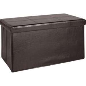 Large Leather Effect Ottoman with Stitching Detail - Brown @ Argos £19.99