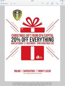 Leeds united store 20% off everything until Xmas eve!