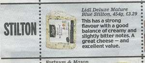 """LIDL Deluxe Mature Blue Stilton 454gm Was £3.29 - Now scanning at £2.49 - """"Best Festive Stilton"""" award in the Daily Mail"""