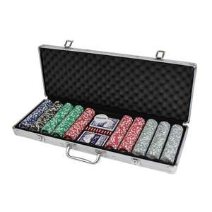CQ Poker 500 HIGH ROLLER Numbered Poker Chips + Case, Cards, Dice, Dealer Button - £7.99 plus £4.99 Delivery @ The Sports HQ via Amazon