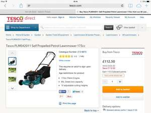 Tesco direct self propelled petrol lawn 173cc mower 51cm cutting width. PLM042011 half price £112.50.  Be quick!