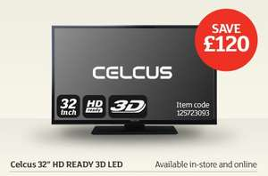 "Celcus 32"" HD Ready 3D LED TV £179.99 @ SAINSBURYS INSTORE&ONLINE"