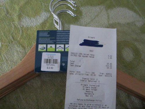 5 Wooden Coat Hangers - full size 45 cm - £1.90 @ Primark