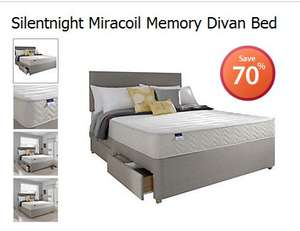 Silentnight Miracoil Memory Divan Bed + Others 70% Off @ Sainsburys