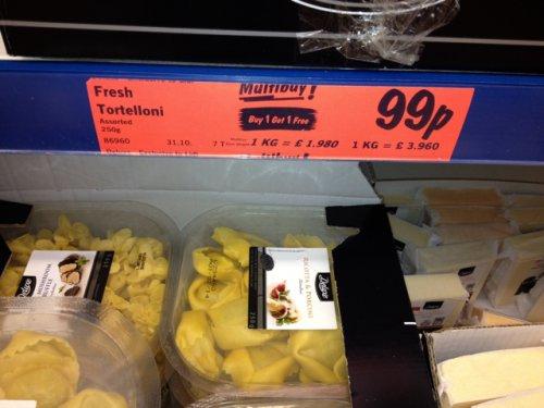 Lidl fresh pasta £0.99 buy one get one fee
