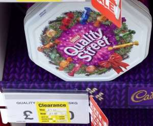 Quality Street tin 1.25kg £3.50 at Staples