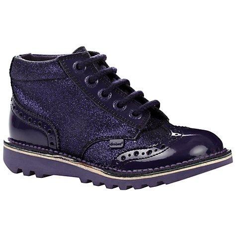 John Lewis girls boots Kickers Brogue Boots, Purple Glitter £15 was £50