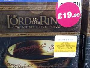 Lord Of The Rings Trilogy Extended Edition Blu-Ray BOXSET £19.99 @ HMV