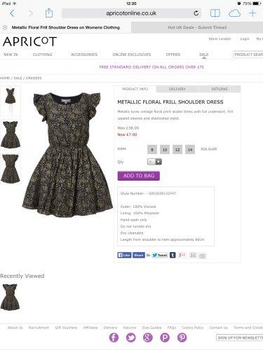 Beautiful dress from  APRICOT - £7 + P&P