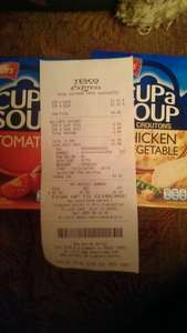 Batchelors Cup a soup. Normally £1.21 each Tesco are doing them for 2 for £2 price glitch is taking the 42p of both packs making it only £1.58 for the 2!