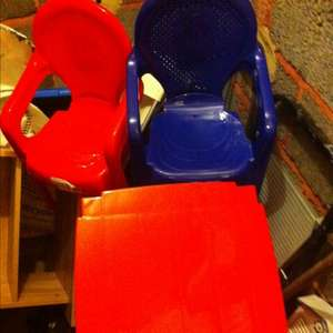 Kids plastic tables and chairs from Tesco from 50p