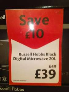 Russell Hobbs RHM2062B Black Digital Microwave 20L for £39 @ Morrisons Instore