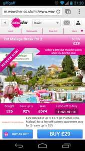 7 night Malaga break for 2 £29 @ Wowcher