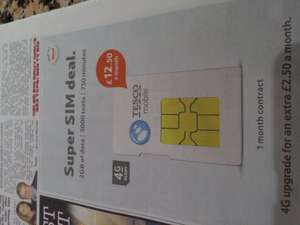 Super Sim only deal 1 month rolling contract. - £12.50 @ Tesco Mobile