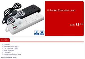 @Aldi - 8 Gang / 8 Socket Surge Protection Extension Lead WITH Switch > Less than a Tenner! >
