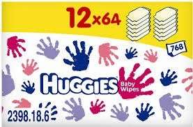 Huggies everyday baby wipes 12 packs of 64 wipes at amazon £7.68 free super saver delivery on orders over £10.00 only