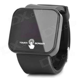 "Square 1.8"" LED Red Backlight Touch Screen Wrist Watch - Black (1 x CR2032) - Worldwide Free Shipping - £2.81 @ DX"
