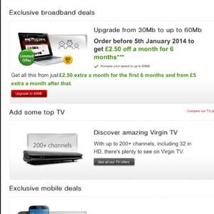 Virgin media 60meg broadband upgrade with free superhub for £2.50