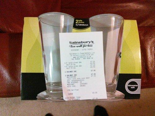Two latte glasses £3.50 @ Sainsburys instore