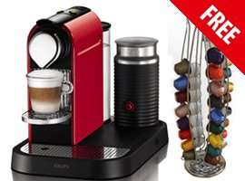 Krups Nespresso Citiz & Milk Fire Engine Red, FREE, Capsule Holder, Capsules & £70 Voucher £139.99@ Harts Of Stur